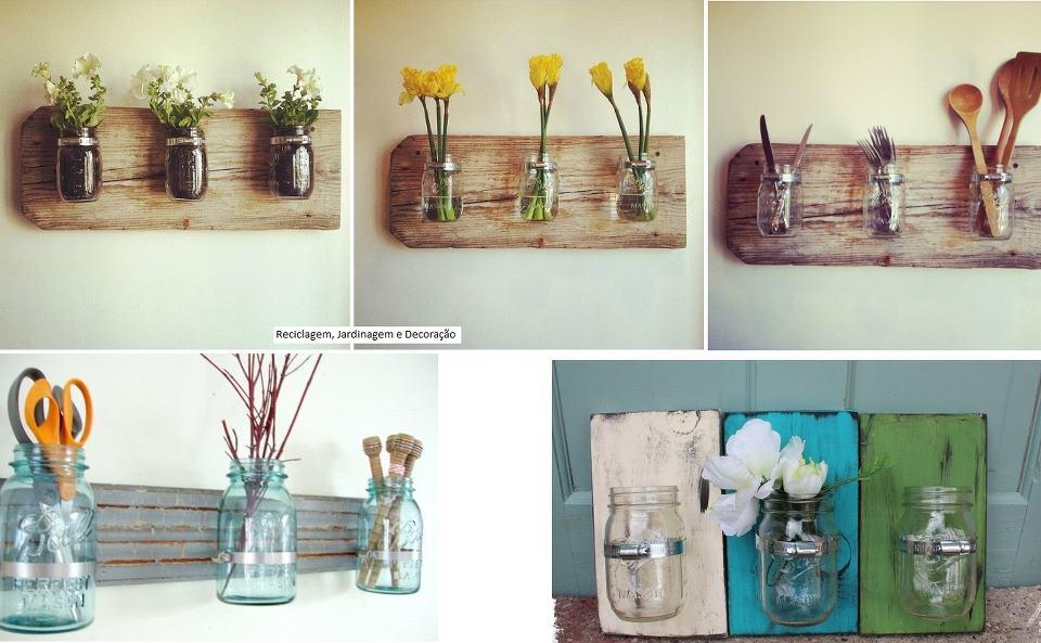 598840 Reutiliza%C3%A7%C3%A3o de vidros em jardim Como fazer 05 Reutilize vidros para fazer painéis com vaso de flores, que podem, inclusive, ser um suporte para guardar vários objetos.
