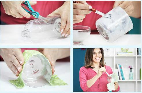 605731 012 Vaso de garrafa pet e tecido: Como fazer