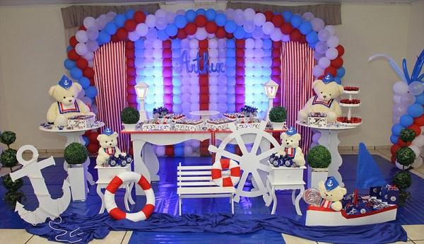 614746 Decoração festa infantil Urso Marinheiro CCS Decorações e Eventos cenario bolo Temas de festa infantil masculino