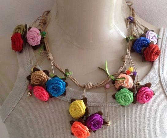 63370 Colares De Tecido Com Flores Fotos 10 Colares De Tecido Com Flores   Fotos