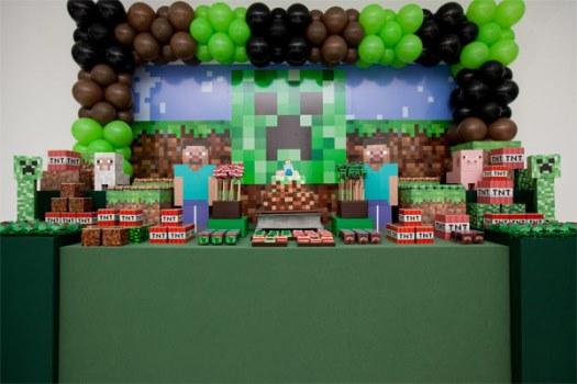 662087 Decoração de aniversário tema Minecraft Decoração de aniversário tema Minecraft