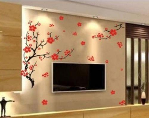 Decoração com papeis de parede colorido