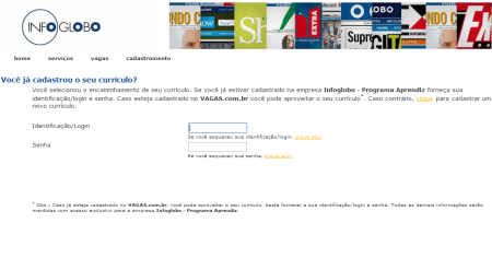 Inscrições Jovem Aprendiz Infoglobo 2014