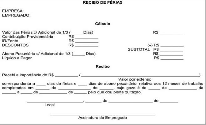 Modelos de Recibo de Férias para Imprimir