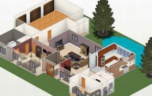 Plantas de casas pequenas com piscinas