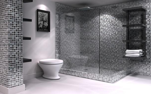 decorar um banheiro:Black and White Bathroom Tile Design