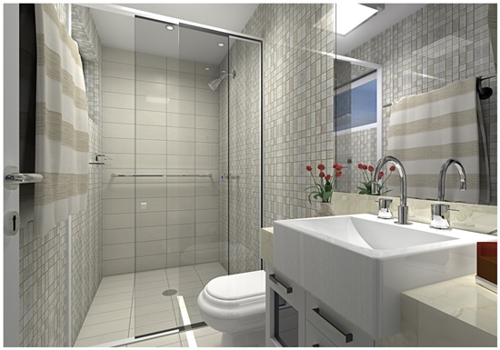 15 Banheiros decorados com pastilhas -> Banheiros Super Decorados