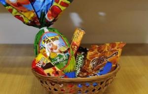 Cestas de chocolates para Páscoa 2015 passo a passo