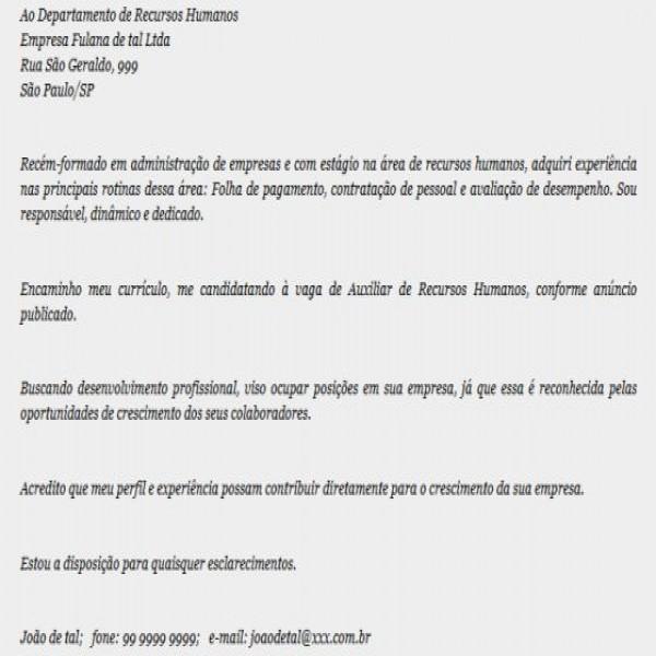 Carta de apresentacao curriculo