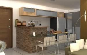 Cozinha americana com sala