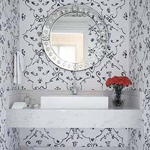 decoração de lavabos com papel de parede Decoração de Lavabos com Papel de Parede