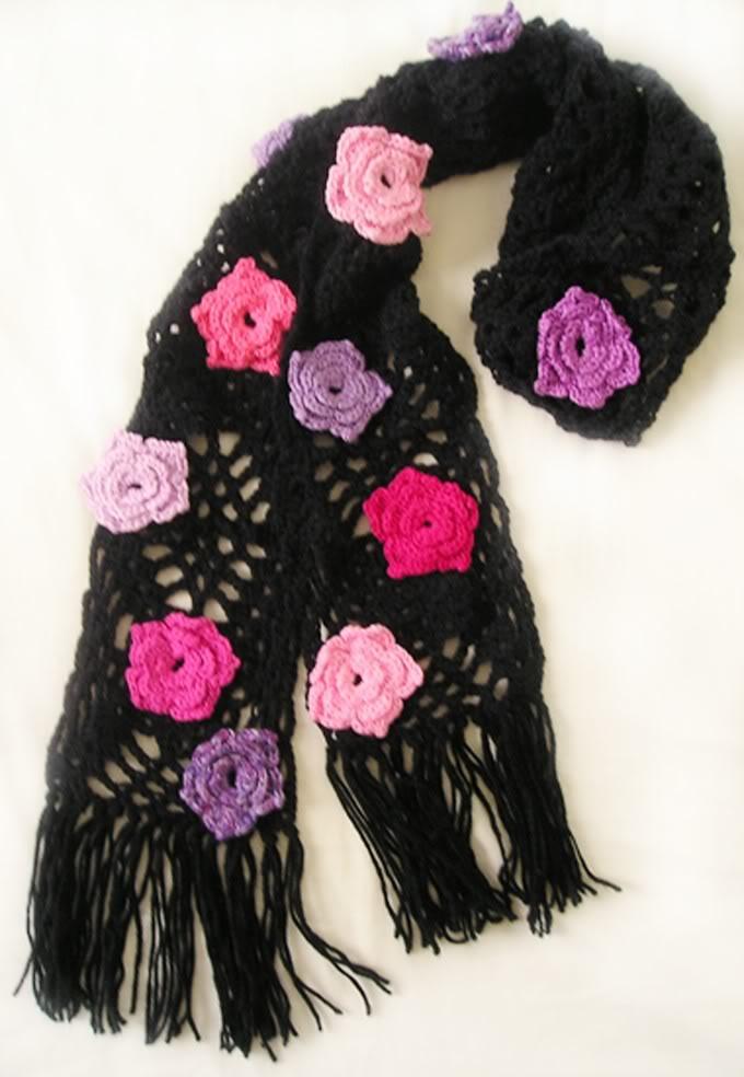 cachecol floral Cachecol de Crochê com Flores