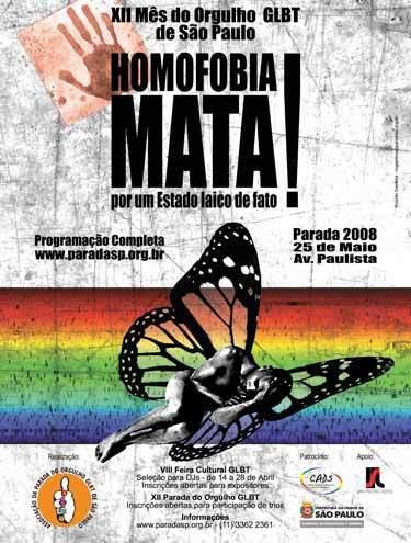 cartaz parada gay Fotos e Vídeos: Parada Gay 2008 em São Paulo