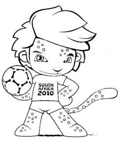 Mascote copa mundo 2010 para colorir Mascote da Copa do Mundo 2010 para Colorir