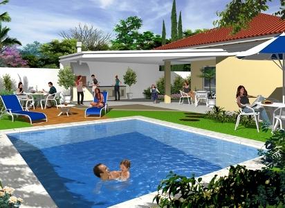 area de lazer com piscina e churrasqueira Área De Lazer Com Piscina E Churrasqueira