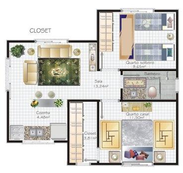 plantas de casas com closet 1 Plantas De Casas Com Closet