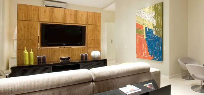 Sala De Tv Com Revestimento ~ painel de madeira para tv lcd 300×140 Painel de Madeira para TV LCD