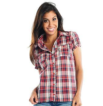 camisa21 Blusas Xadrez Feminina Manga Curta