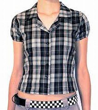 camisa31 Blusas Xadrez Feminina Manga Curta