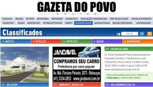 classificados folha empregos imóveis veículos 300x170 Classificados Gazeta do Povo, Veículos, Imóveis