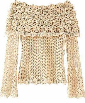 croche1 Como Fazer uma Blusa de Crochê