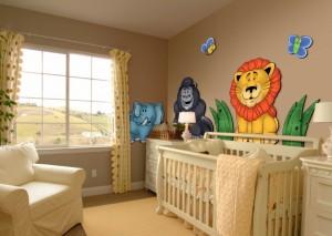 decoração quarto bebe com adesivos de parede 300x213 Decoração de quarto de bebê   como fazer?