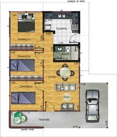 planta de casa com garagem Plantas de Casas Com Garagem