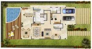 planta de casa com garagem5 300x162 Plantas de Casas Com Garagem