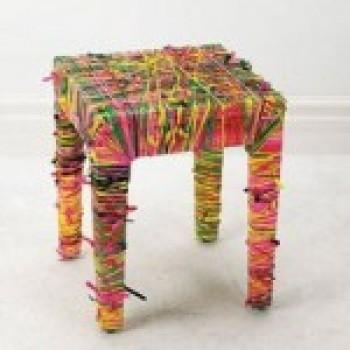 banquinho colorido Decoração com Móveis Reciclados